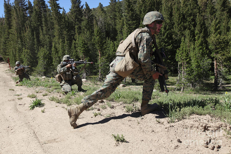 Training Photograph - U.s. Marines Training At The Mountain by Stocktrek Images