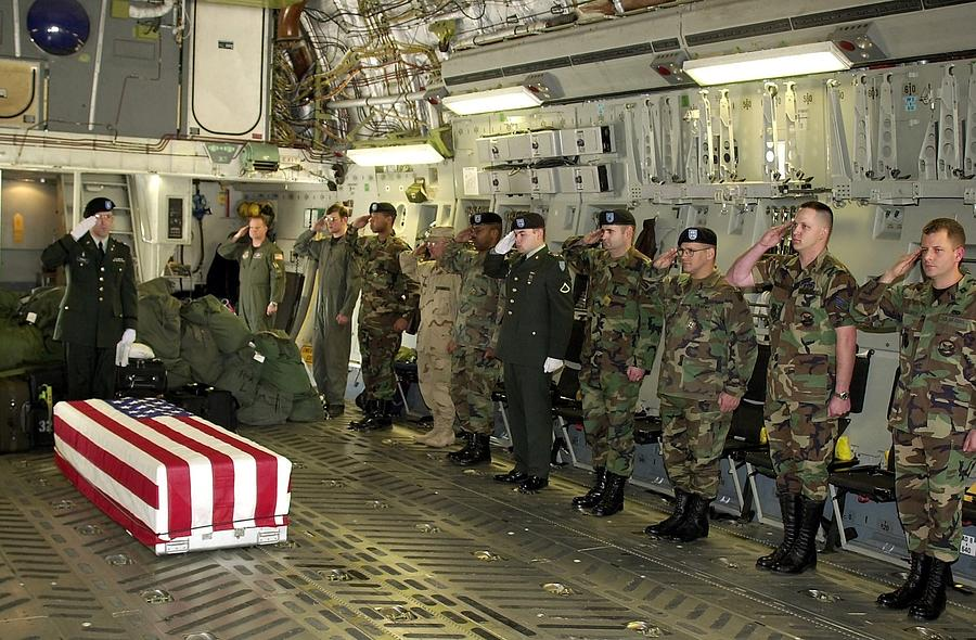 U.s. Military Personnel Salute The Flag Photograph by Everett