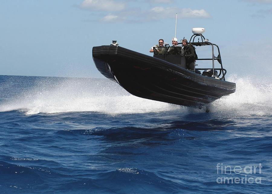 Horizontal Photograph - U.s. Navy Sailors Operate A Nine-meter by Stocktrek Images
