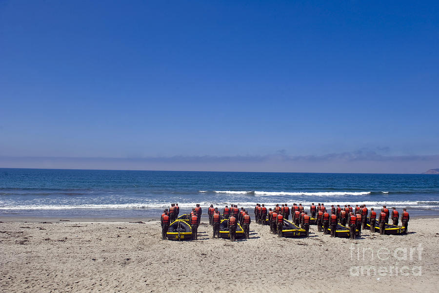 Pacific Ocean Photograph - U.s. Navy Seal Candidates Participate by Stocktrek Images