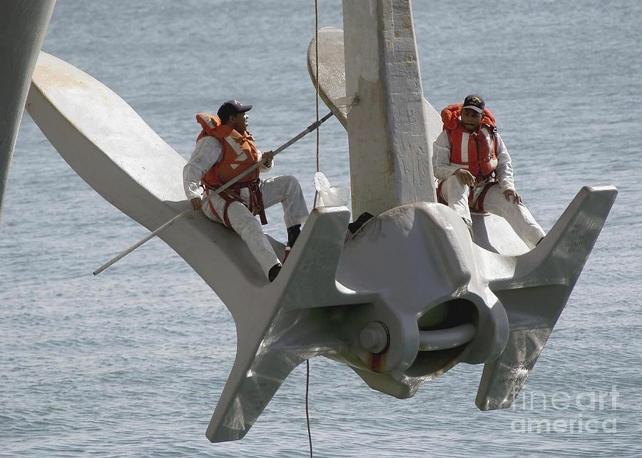 Uss Enterprise Photograph - U.s. Navy Servicemen Apply A Coat by Stocktrek Images