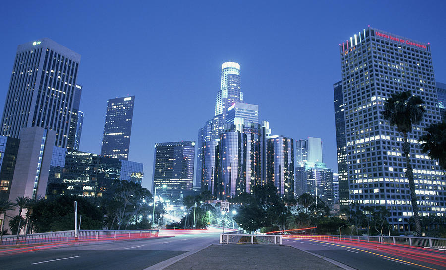 Usa california los angeles downtown at night long for T shirt printing downtown los angeles