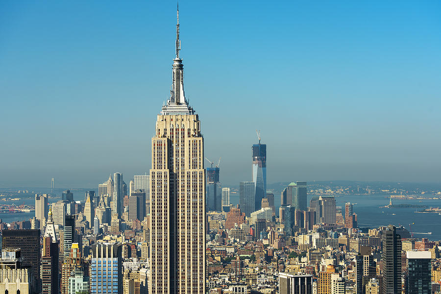usa new york city empire state building with manhattan. Black Bedroom Furniture Sets. Home Design Ideas