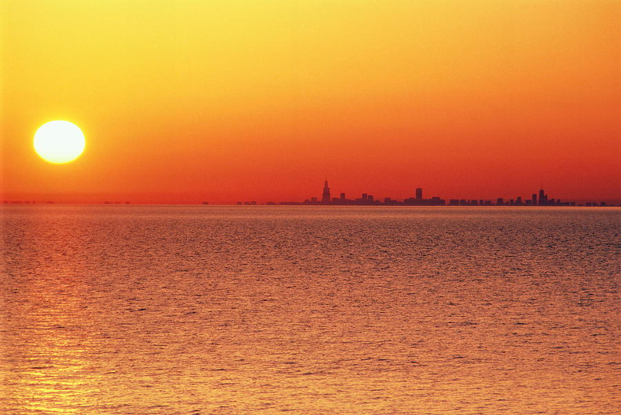 Horizontal Photograph - Usa,chicago,lake Michigan,orange Sunset,city Skyline In Distance by Frank Cezus