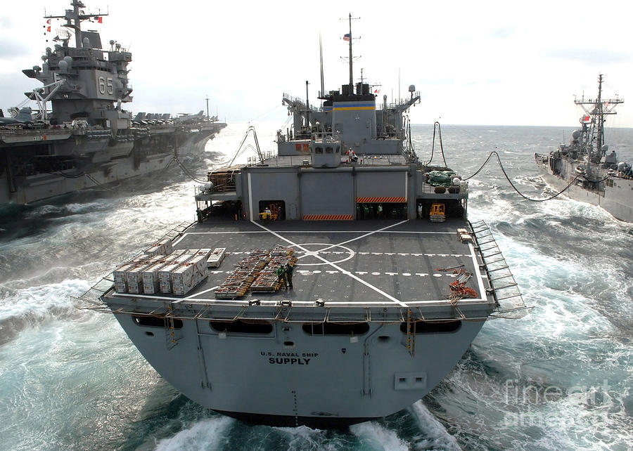 Color Image Photograph - Usns Supply Conducts A Replenishment by Stocktrek Images