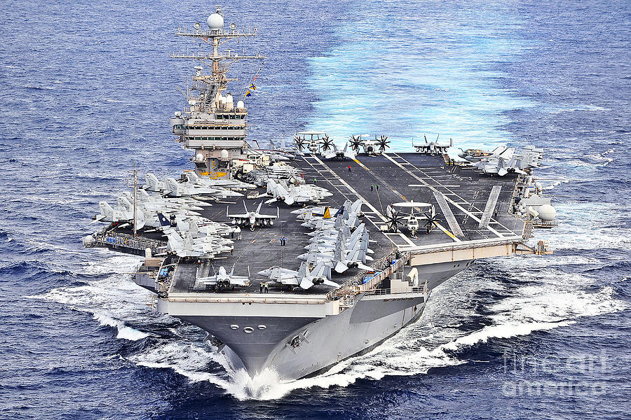 Warship Photograph - Uss Abraham Lincoln Transits by Stocktrek Images
