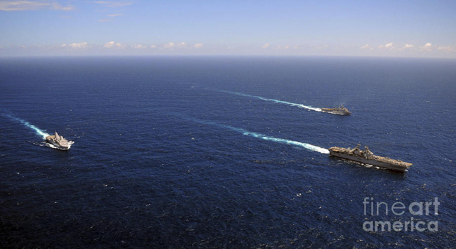 Transit Photograph - Uss Boxer, Uss Comstock And Uss Green by Stocktrek Images