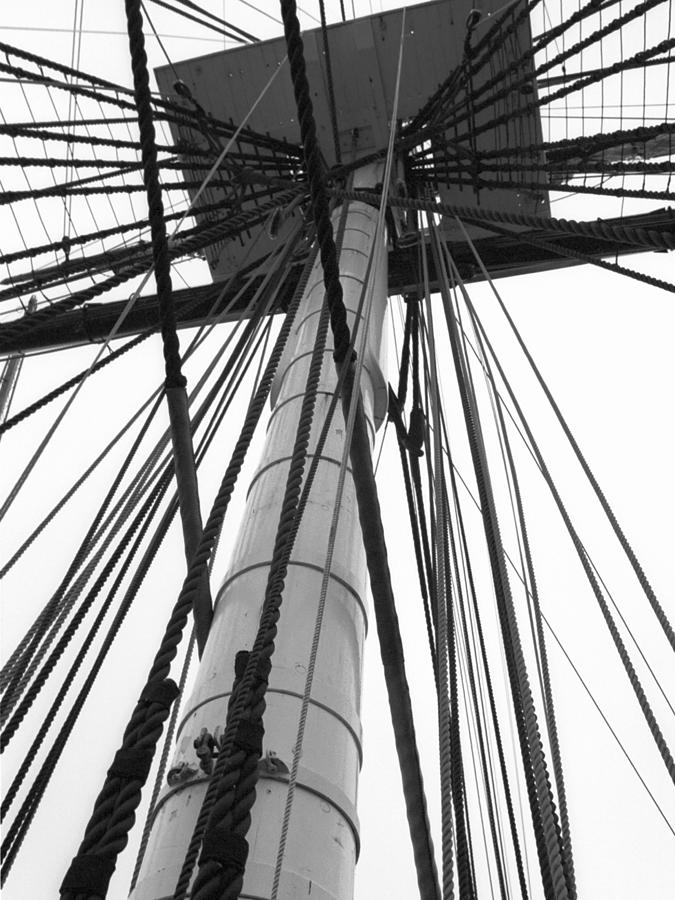 Ships Photograph - Uss Constitution Mast by David Yunker