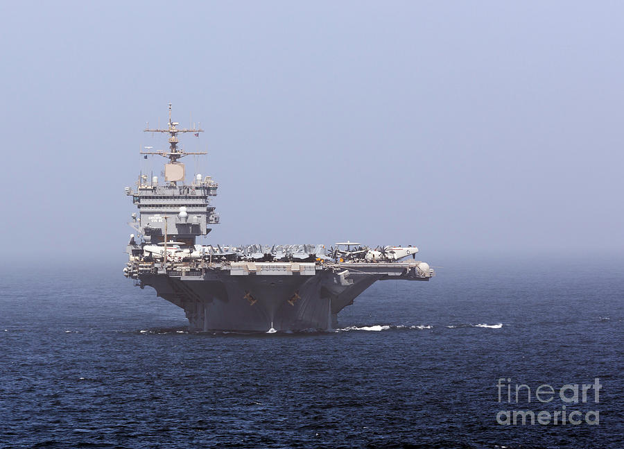 Arabian Sea Photograph - Uss Enterprise In The Arabian Sea by Gert Kromhout