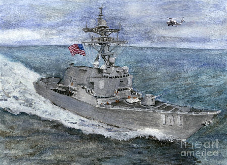 Uss Gridley Painting - Uss Gridley by Sarah Howland-Ludwig