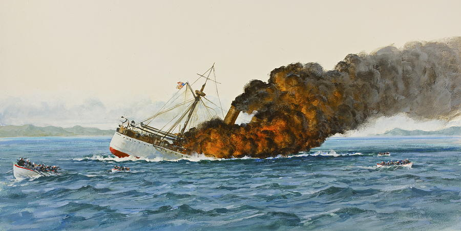 Uss Main Sinking Painting by Cliff Spohn