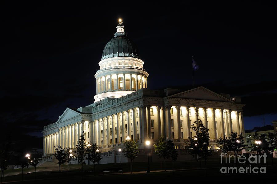 Utah Capitol Photograph - Utah Capitol At Night by Gary Whitton