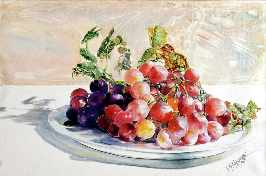 Still Life Painting - Uva Rossa Su Piatto by Giovanni Marco Sassu