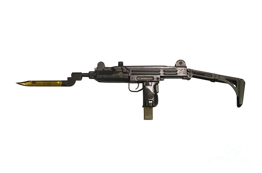 No People Photograph - Uzi 9mm Submachine Gun With Attached by Andrew Chittock