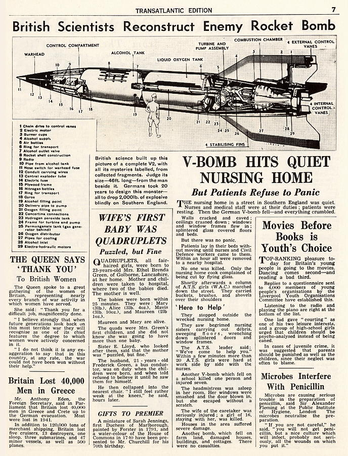 A4 Photograph - V-2 Reconstruction In The Daily Mirror by Detlev Van Ravenswaay