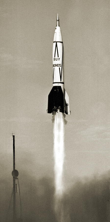 A4 Photograph - V-2 Rocket Launch In Usa by Detlev Van Ravenswaay