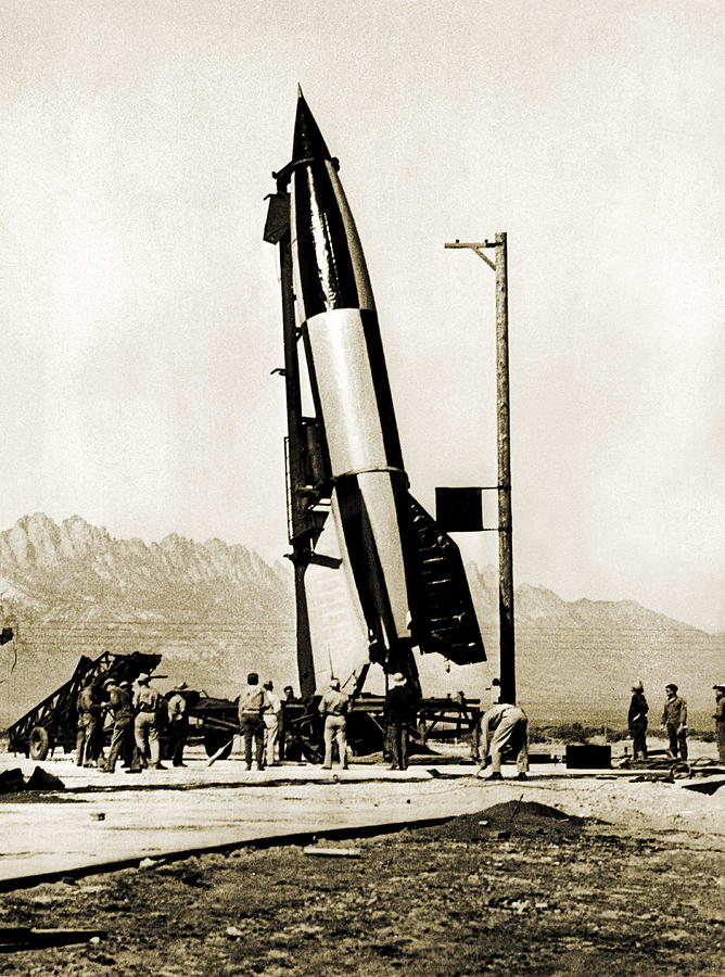 A4 Photograph - V-2 Rocket Prior To First Us Launch by Detlev Van Ravenswaay