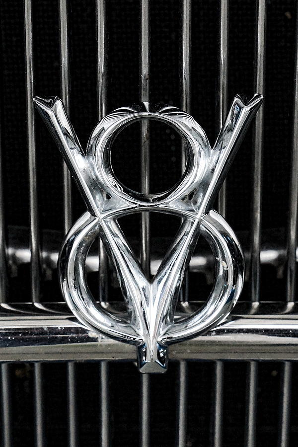 Auto Photograph - V-8 Car Emblem by Alan Hutchins