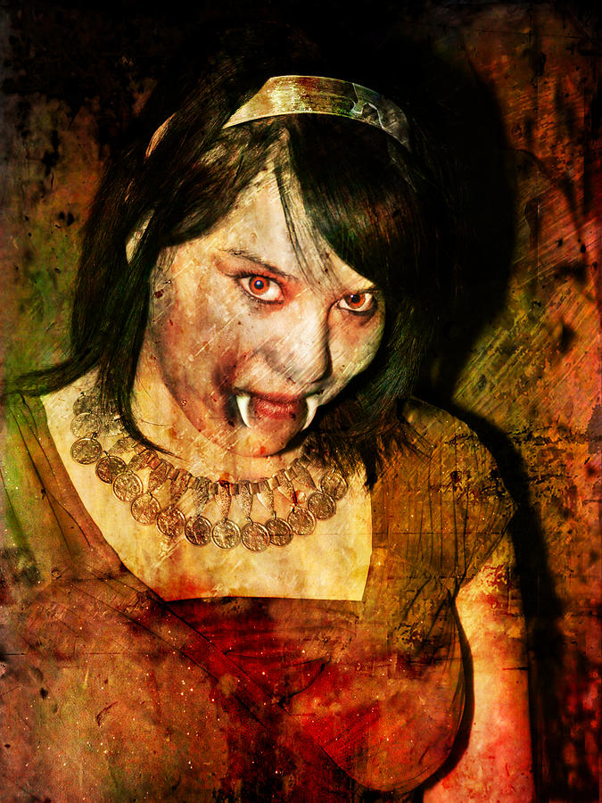 Vampire Digital Art - V Girl by Nada Meeks