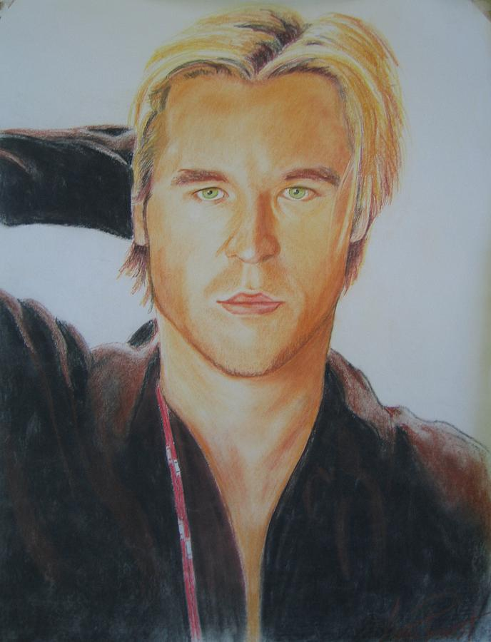 Val Kilmer Young First Pastel Drawing By Anne Provost