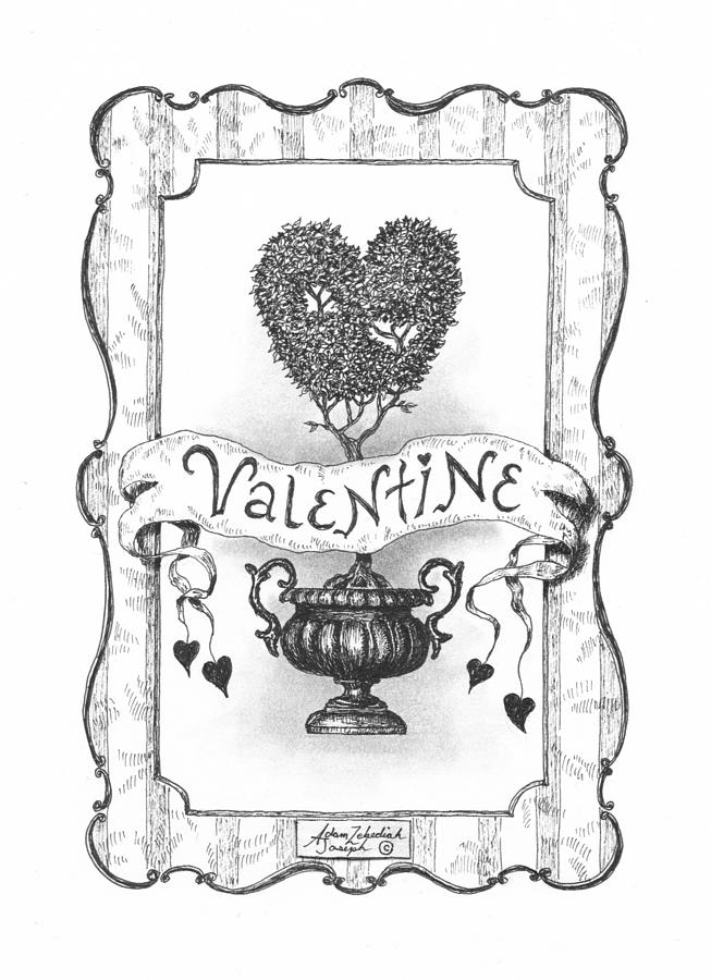 Drawing Drawing - Valentine by Adam Zebediah Joseph