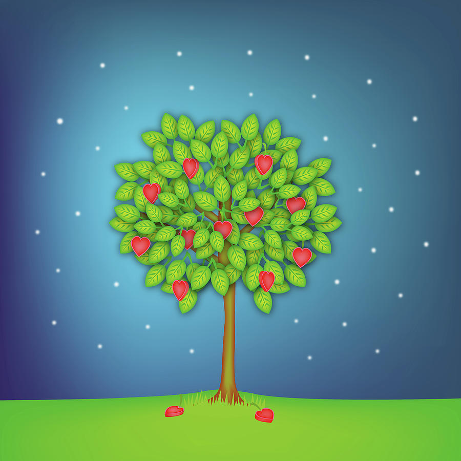 Square Photograph - Valentine Tree With Hearts And Stars by OldBag Illustrations