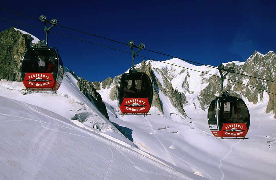 Horizontal Photograph - Valle Blanche Aerial Tramway Cabins, Rhone-alpes, France, Europe by John Elk III