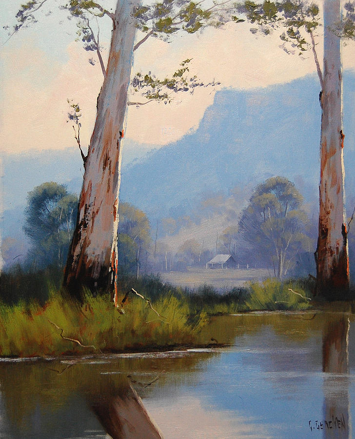 River Painting - Valley Gums by Graham Gercken