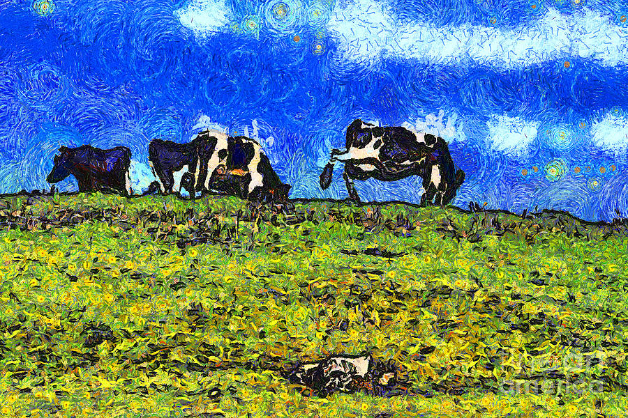 Cow Photograph - Van Gogh Goes Cow Tipping 7d3290 by Wingsdomain Art and Photography
