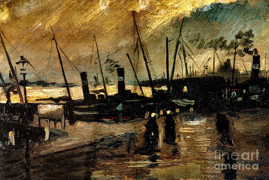 U.s.pd:  Reproduction Painting - Van Gogh Le Quai Huile Sur Toile 1885  by Pg Reproductions