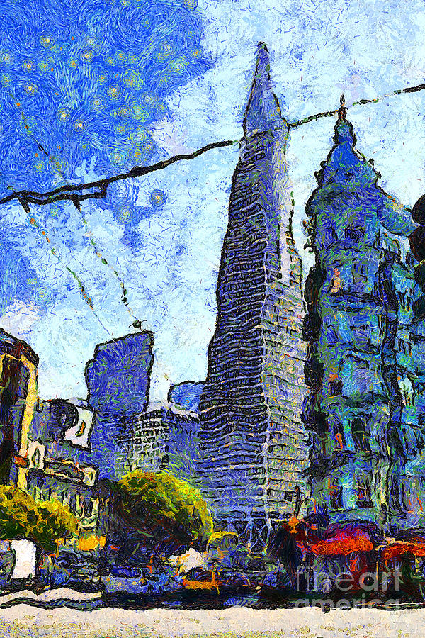 Transamerica Photograph - Van Gogh Sips Absinthe And Takes In The Views From North Beach In San Francisco . 7d7431 by Wingsdomain Art and Photography