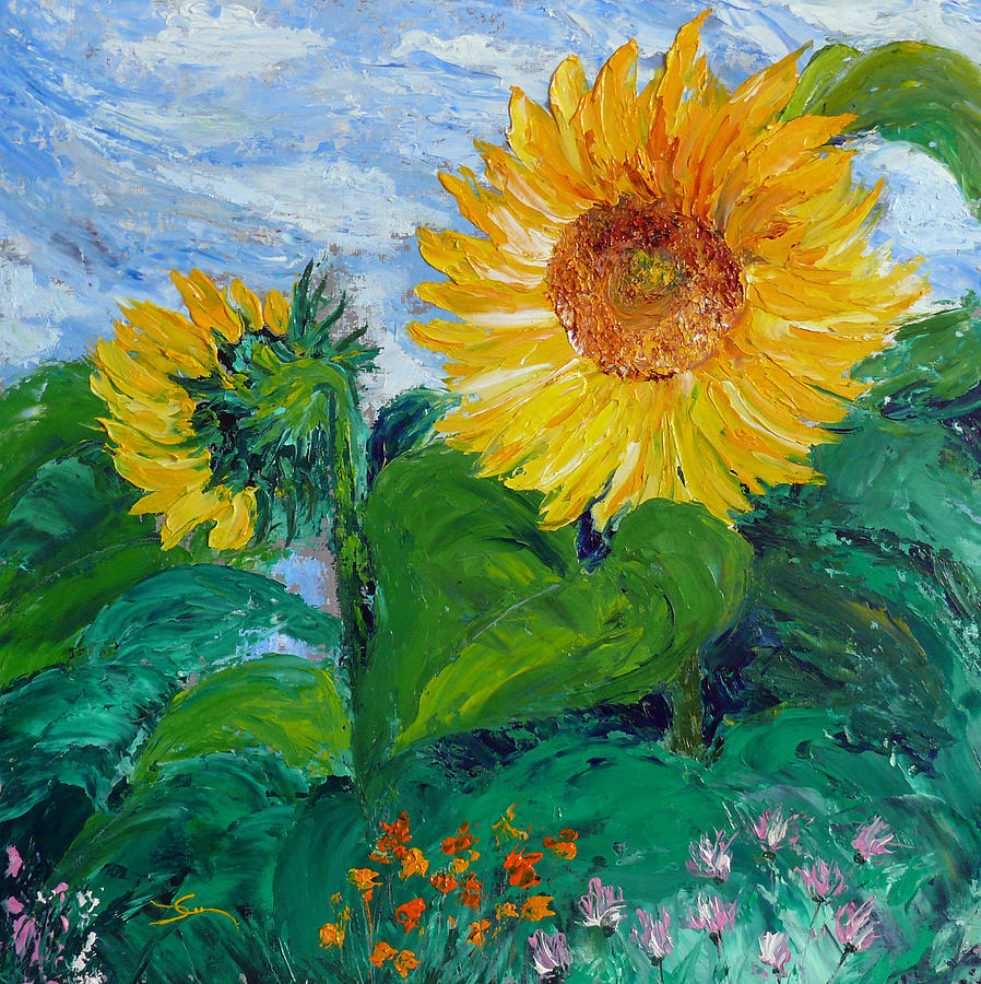 Van Gogh Sunflowers Painting by Dee Carpenter