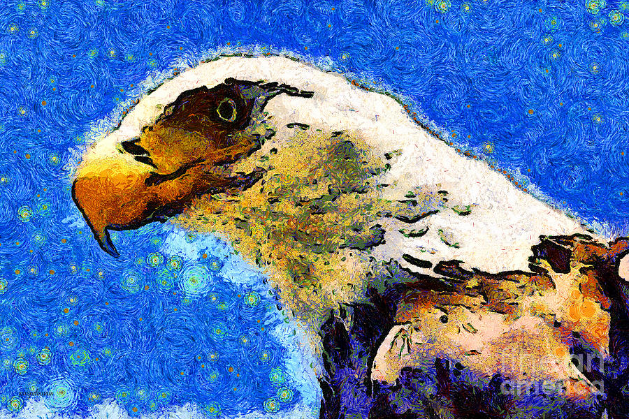 Usa Photograph - Van Gogh.s American Eagle Under A Starry Night . 40d6715 by Wingsdomain Art and Photography