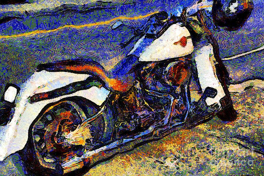 Transportation Photograph - Van Gogh.s Harley-davidson 7d12757 by Wingsdomain Art and Photography