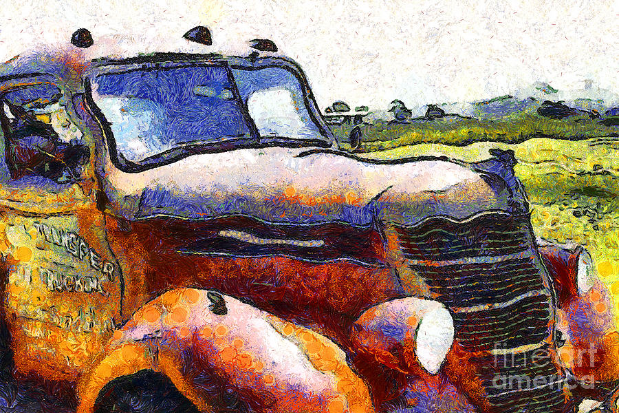 Transportation Photograph - Van Gogh.s Rusty Old Truck . 7d15509 by Wingsdomain Art and Photography