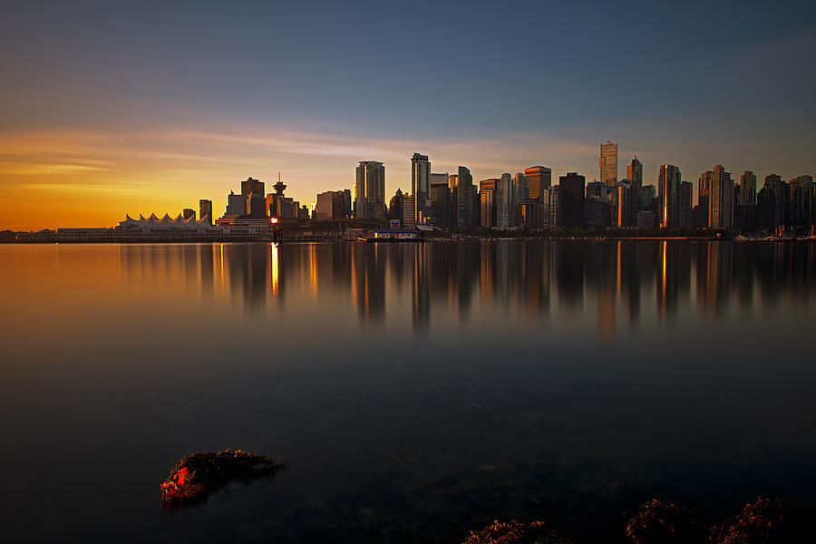 Sunrise Photograph - Vancouver Golden Sunrise by Jorge Ligason