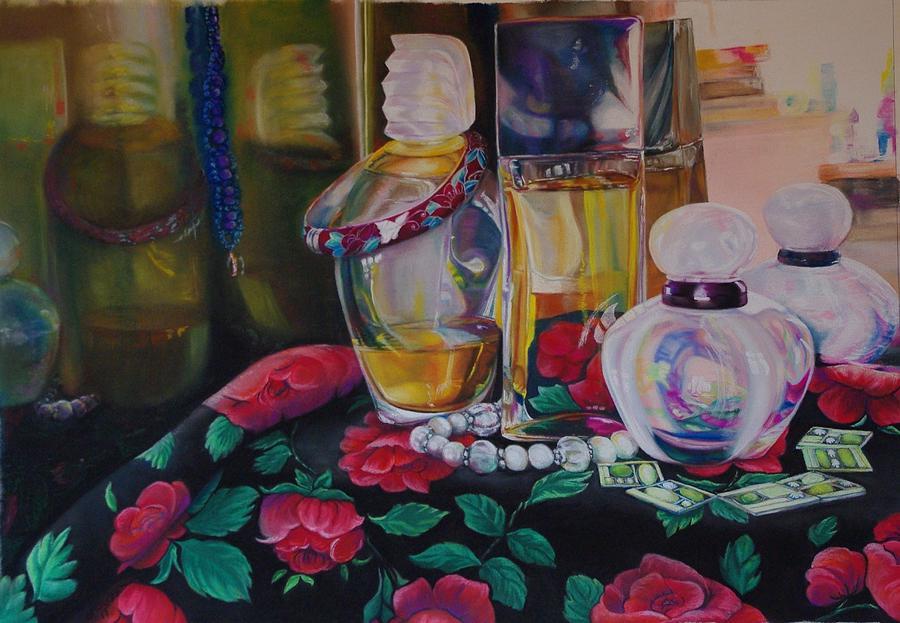 Bottles Drawing - Vanities by Loueen Morrison