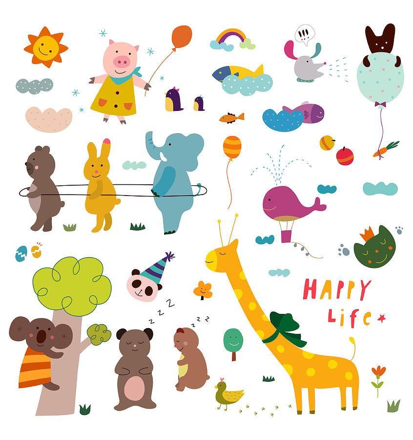 Vertical Digital Art - Various Animals by Eastnine Inc.