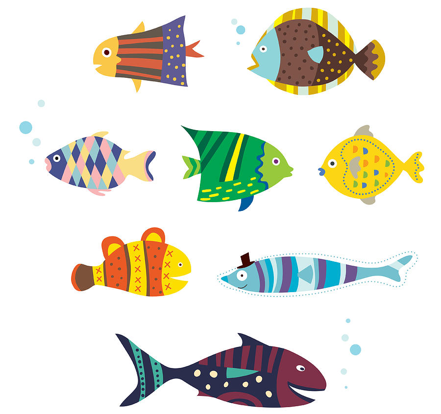 Various Fishes Digital Art by Eastnine Inc.