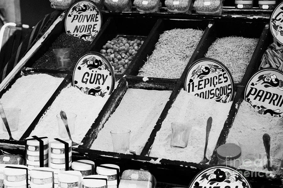 Tunisia Photograph - Various Spices Including Curry Black Pepper Couscous And Papricka On Stall At The Market In Nabeul by Joe Fox