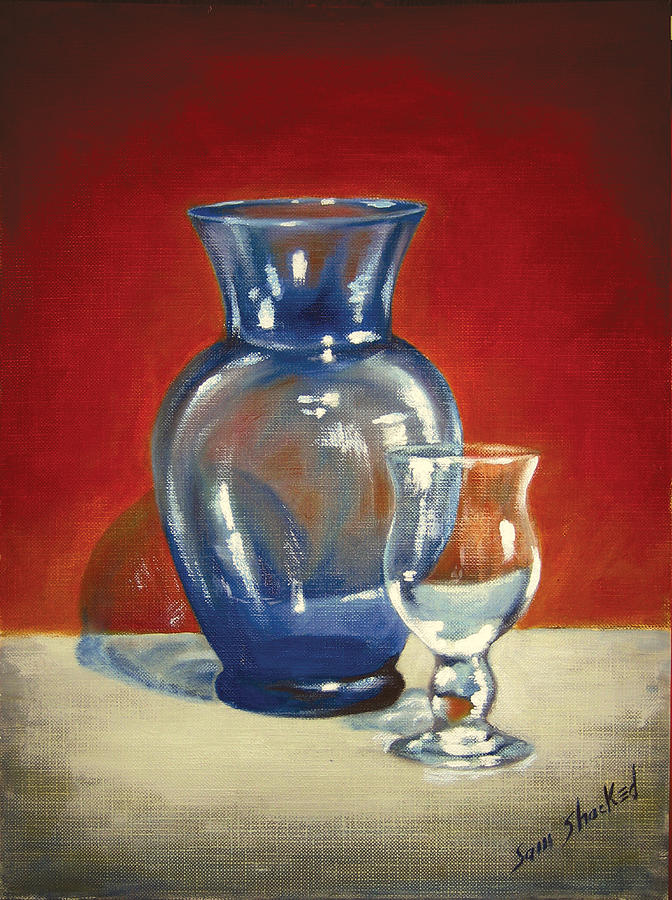 Vase Painting - Vase N Glass Goblet by Sam Shacked