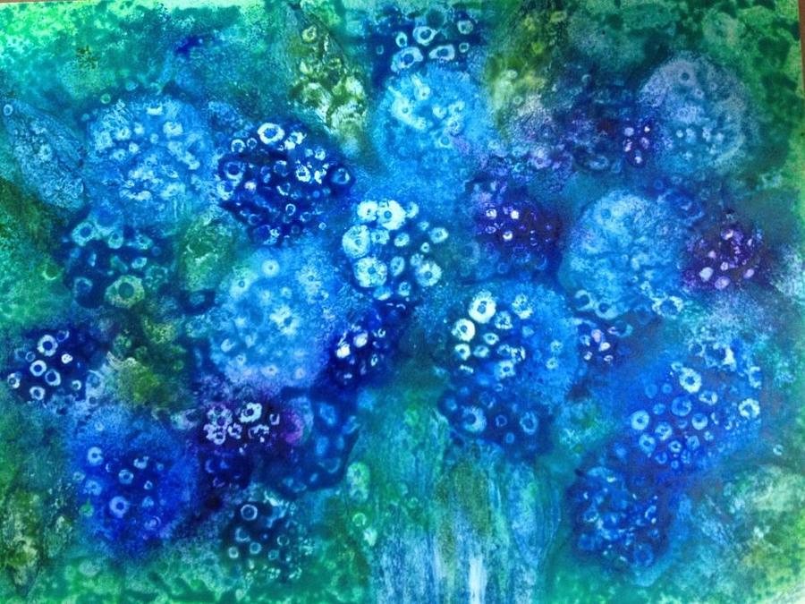 Original Painting - Vase Of Blue Hydrangeas by Kelli Perk