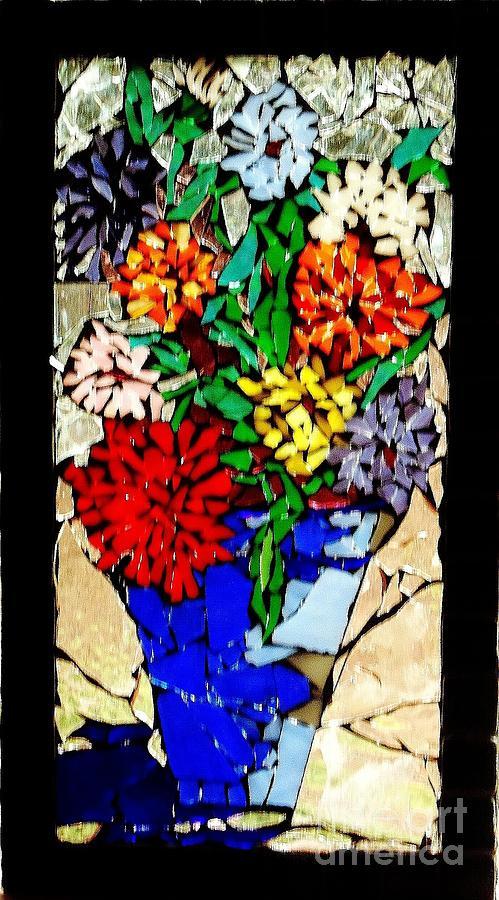 Glass Glass Art - Vase Of Flowers by Brenda Marik-schmidt