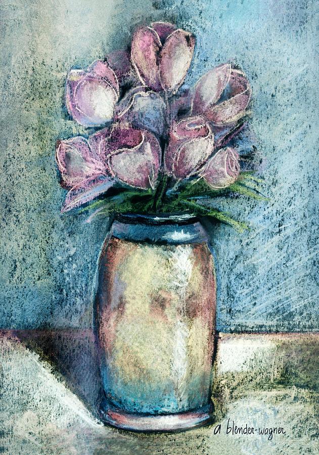 Flower Pastel - Vase Of Pink Tulips by Arline Wagner
