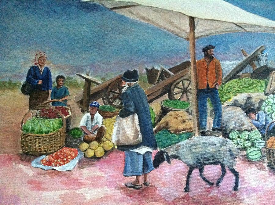 Vegetable Market Painting by Giti Ala