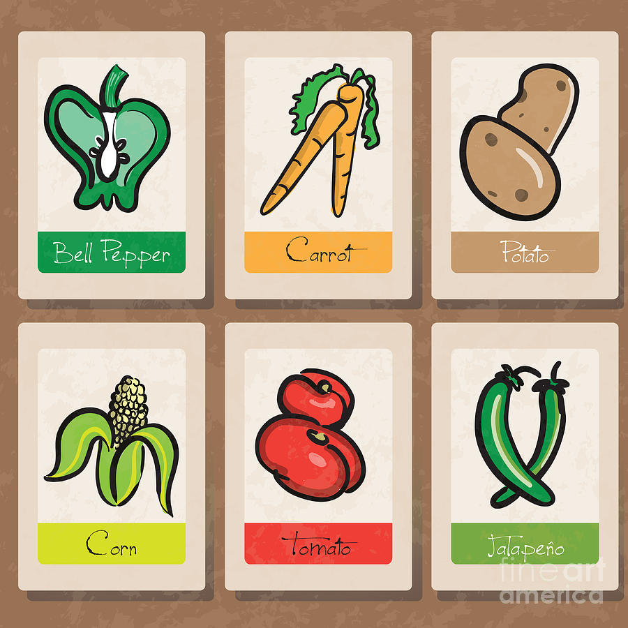 Vegetables Drawing - Vegetables by HD Connelly