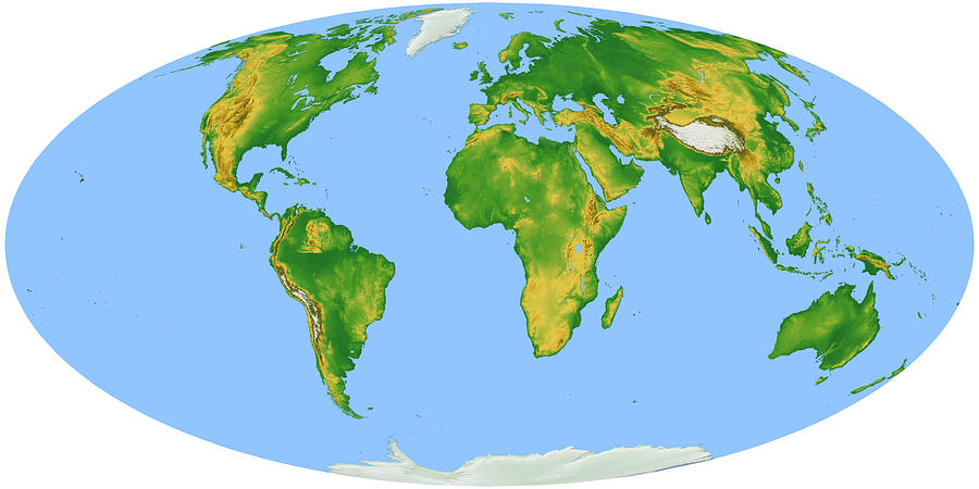 Vegetation Map -- Oval Projection Digital Art by Cartesia