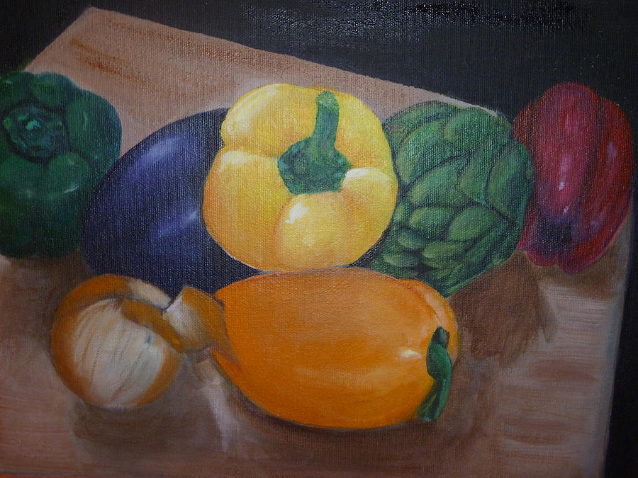 Still Life Painting - Veggies In Waiting by Mary Dunn