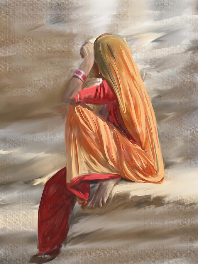 Veil Woman Painting By Usha Shantharam