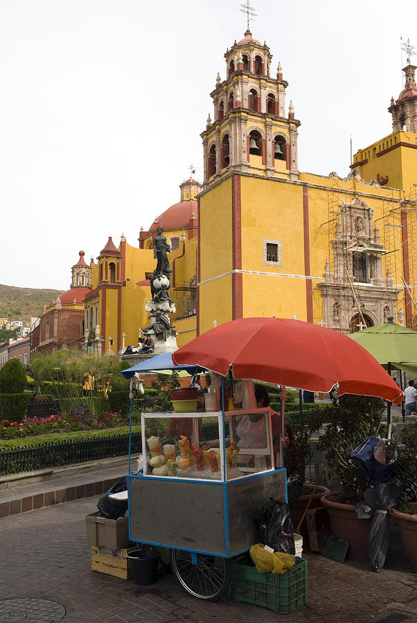Color Image Photograph - Vending Cart Outside Of The Basilica De by Krista Rossow
